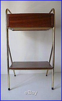 Chevet Vintage En Bois Et Metal Doree Vintage Design 1950