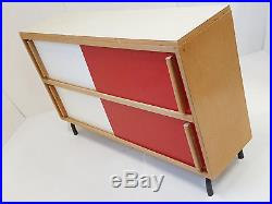 Commode 50s Buffet Meuble Bas Enfilade 1950 Vintage Rouge & Blanche Formica 50's