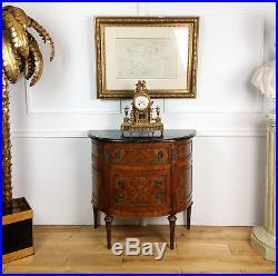Commode Ancienne De Style Louis XV En Marqueterie Orné De Bronze Dessus Marbre