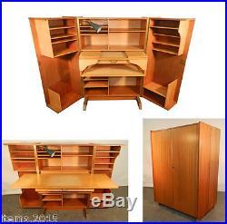 Compact Home Office Desk, 1950, Acajou Et Bois Clair, Lampe d'Origine