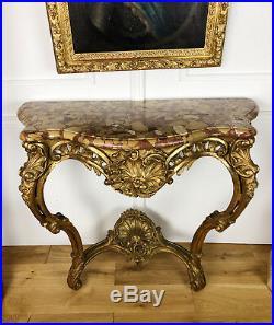 Console D'époque Napoléon III En Bois Doré Et Sculpté De Style Louis XV