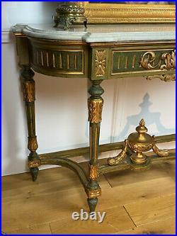 Console / Jardiniere Ancienne En Bois Peint Style Louis XVI Avec Dessus Marbre