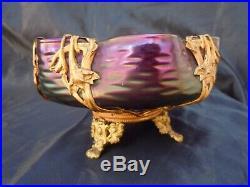 Coupe verre irisé monture laiton époque Art Nouveau dlg Loetz Austria glass 1900