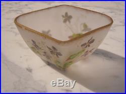 Coupe vide poche pâte de verre décor violettes style Legras vers 1920