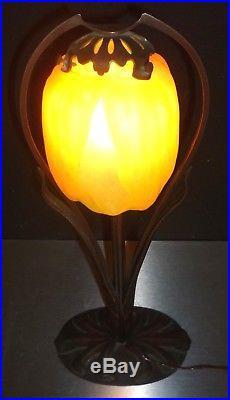 DAUM MAJORELLE Lampe art nouveau, bronze et pâte de verre