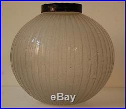 DAUM NANCY FRANCE Pied de Lampe Boule Blanc Art Deco Pate de Verre Acide Vase