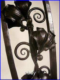 DAUM NANCY Grande lampe double art déco en fer forgé et tulipes 1925/1930