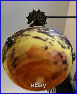 DAUM NANCY Rare PETIT lustre vasque ART-NOUVEAU verre marmoréen Signé