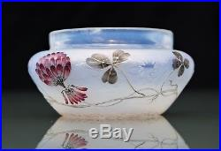 DAUM à NANCY Précieux Vase Coupe décor Trèfle en Verre Opalescent Gravé Émaillé