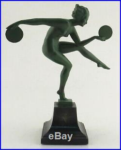 DERENNE Danseuse aux disques Statue Art Deco signee