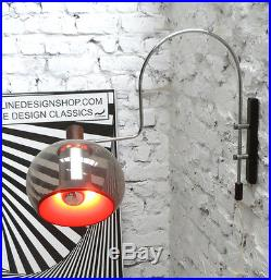 DIJKSTRA ARC PLEXI WENGE CHROME ORANGE ADJUSTABLE APPLIQUE WALL LAMP 1960-70s