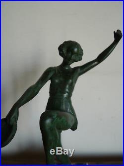 Danseuse Au Tambourin Signee Fayral Edition Max Le Verrier Art Deco 1920-30