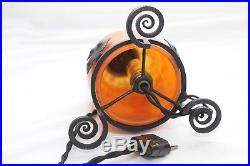 Daum Nancy Veilleuse Art Deco Pate De Verre Fer Forge Lampe Lustre