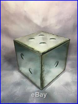 Dé/ Cube En Miroir / Glace Vieillie, Grand Modèle, Des Années 70 Style Art Deco