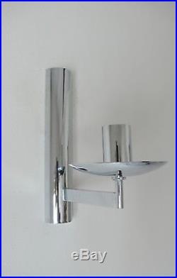 Deux Appliques En Metal Chromee Années 70 Vintage Design Gaetano Sciolari 1970