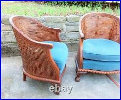 Deux fauteuils anciens style Chippendale acajou et cannage