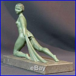 E 1920 superbe paire statues sculpture bronze signée LIMOUSIN art nouveau déco