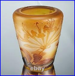 Emile Gallé Rare Vase décor de Chèvrefeuille Pâte de Verre Gravé ART NOUVEAU