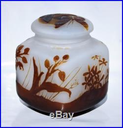 Emile Gallé Rare vase Boite Bonbonnière Encrier Pâte de Verre Gravé Art Nouveau