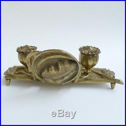 Encrier double en bronze Décor au pavot Art Nouveau vers 1900