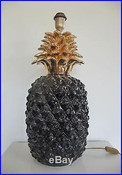 Énorme Pied de Lampe Ananas en Céramique Maison Charles An 60's 70's