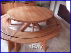 Ensemble chapo orme massif table ronde avec banc et meuble modulable
