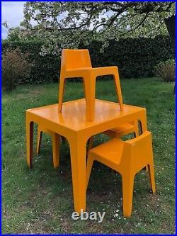 Ensemble de Terrasse Jardin Table & chaises Vintage An 60's 70's