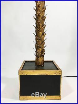 Exceptionnel Lampadaire Sculpté En Forme De Palmier Des Années 70 En Métal Doré