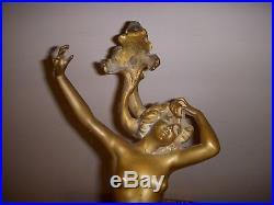 Exceptionnel Pied De Lampe Bronze Art Nouveau 1900 Galle Jugendstil Loie Fuller