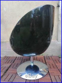 FAUTEUIL design pivotant, boule/egg, base tulipe chromée, vintage 1970 B état