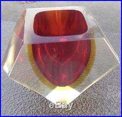 FLAVIO POLI VASE ou VIDE POCHE en CRISTAL sommerso glass murano