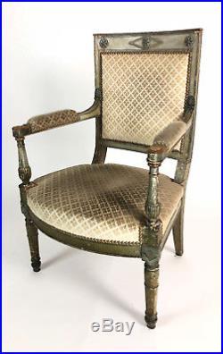 Fauteuil Ancien De Style Directoire En Bois Peint & Tissu Estampillé Garcelon M