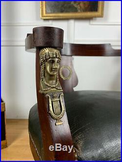 Fauteuil De Bureau Ancien En Acajou De Style Empire Retour D'egypte