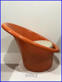 Fauteuil Pouf Chauffeuse Orange vintage An 70's