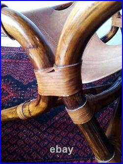 Fauteuil Rotin Cuir Vintage 1970 Style Colonial bambou scandinave italien