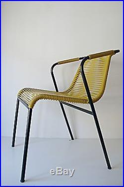 Fauteuil Scoubidou Vert Jaune Design Metal Peint Noir Années 70 Vintage 1970