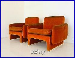 Fauteuil Velours Espace Age Design 60 Ans Moderne Vintage