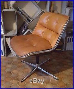 Fauteuil chaise Charles Pollock executive cuir Knoll 1970