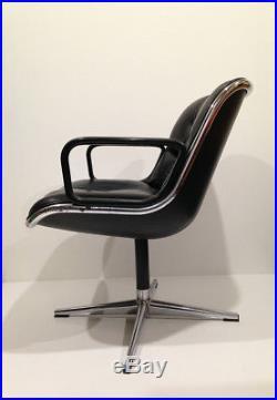 Fauteuil de Bureau 1ère série Cuir Noir Charles Pollock / KNOLL An 70's Vintage