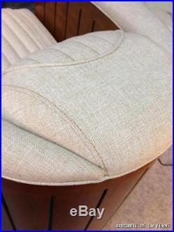Fauteuils (la paire) de style bateau en noyer et tissu écru