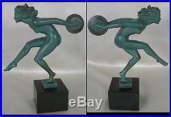 GARCIA STATUE ART DECO DANSEUSE AUX CYMBALES Max Le Verrier REGULE bronze 1930