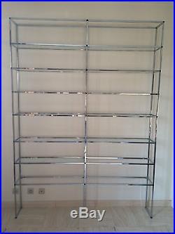 Grande Etagere Chrome Verre Roche Bobois Vintage 1970 Glass Shelves