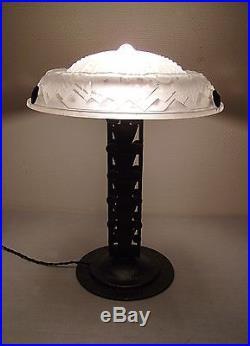 Grande Lampe Champignon Art Deco En Fer Forge Et Vasque Signee Muller Freres