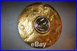 Glace / Miroir lunaire Oeil de sorcière en tôle dorée
