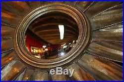 Glace / Miroir soleil en tôle doré (oeil de sorcière) diam 87 cm