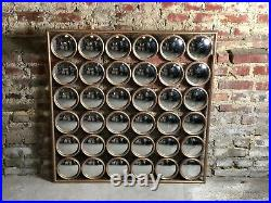 Glace / miroir carré 36 bulles oeil de sorcière en métal doré Dim 105x105 cm