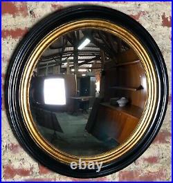 Glace / miroir rond oeil de sorcière style Napoléon III noir doré Diam 64 cm