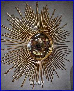 Glace / miroir soleil aiguilles en tôle doré miroir oeil de sorcière Diam 93 cm