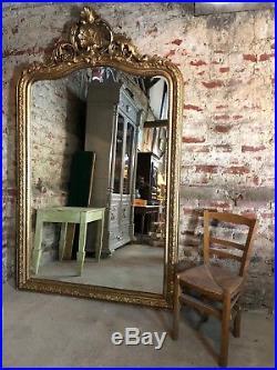 Glace / miroir style Louis XV à fronton coquillage doré 230x140 cm