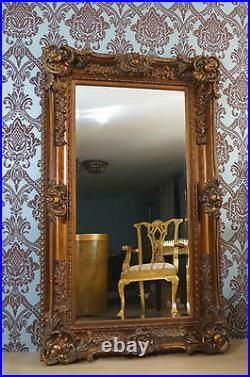 Grand Imposant Miroir Doré Style Baroque Louis XV Glace Biseautée Pour Palais
